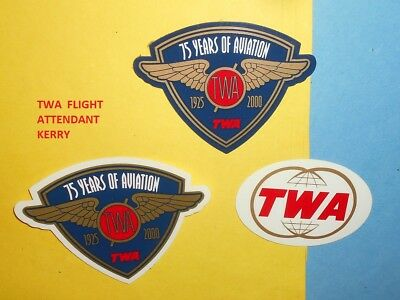 Twa Airlines Double Globe 75 Years Aviation Transparent Glass Sticker Magnet Lot
