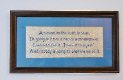 Lovely Vintage Punch Paper Saying In A Wood Frame With Glass Picture. Nice!!!