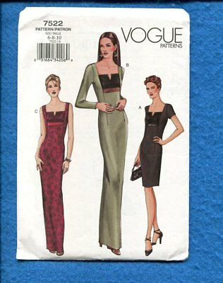 Vogue 7522  with Square Neckline Size 6..8..10 UNCUT