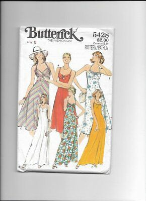 UNCUT Sewing Pattern Butterick 5428 for Sundress, 1970s Sz 8