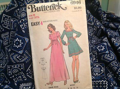 Vintage Butterick Pattern 6946, 70's Dress Pattern, Long Dress Pattern, Size 8