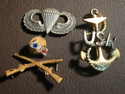 Lot of 4 Various WW1 & WW2 US Army Navy Paratrooper Pins (Some Sterling Silver)