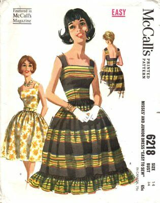 McCall's 6218 Sleeveless Sundress Low Square Back Neckline VINTAGE 1960s SZ 12