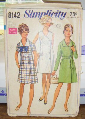 Vintage 1969 SIMPLICITY dress pattern, complete, trimmed, Misses size 16