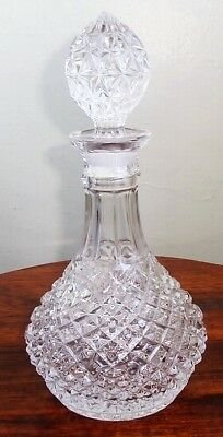 Vintage Lead Crystal Decanter~Solid Glass Faceted Stopper~Genie Bottle Shape