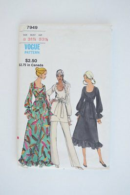 Vogue Sewing Pattern 7949 Womens Long Sleeve A-Line Tunic or Dress SZ 8