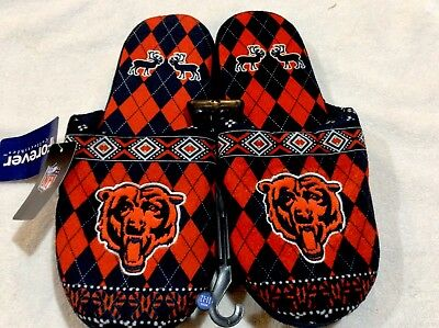 Chicago Bears Men's Slippers New NFL Authentic Forever Collectibles Comfortable