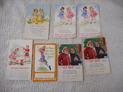 Vintage Children Theme Birthday and Get Well Bible Verse Postcards: a total of 7
