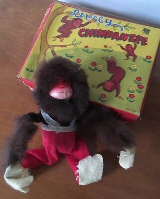 Vintage 1950s working wind up Lively Chimpanzee made in Japan in original box