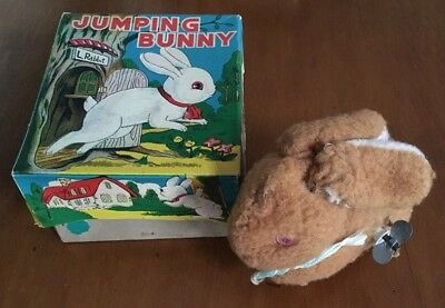 Vintage 1950s working wind up Jumping Bunny in original box - made in Japan