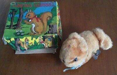 Vintage 1950s wind up Jumping Squirrel in original box - made in Japan