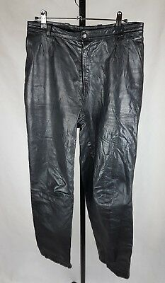 Womens vintage size 10 12 black leather trousers pants w30 leg 30 80s high waist