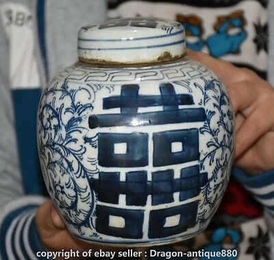 China Dynasty Blue White Porcelain Auspicious Flower Lucky Jar Jug Vessel Crock
