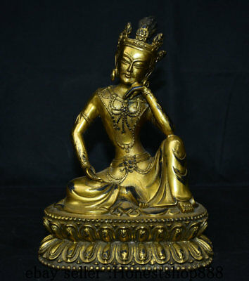 Old Tibet Bronze Gilt Green Tara Mahayana Buddhism enlightenment Goddess Statue