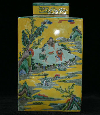 "13"" Kangxi Marked Chinese dynasty Wucai Porcelain Figures People Jar Pot Vase"