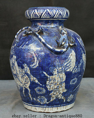 "11.2"" Marked Qing Chinese Blue White Porcelain Palace Dragon People Bottle Jar"