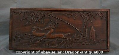 "17"" Antique China Palace Wood Carving Bamboo Deer Flower JEWELLERY Jewelry box S"