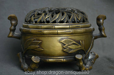 22CM QianLong Marked Old China Bronze Hollow Out Bamboo Censer Incense Burner
