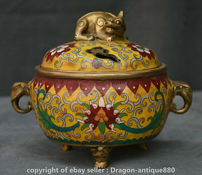 "7"" Xuande Marked Chinese Cloisonne Enamel Unicorn Beast Incense Burner Censer"