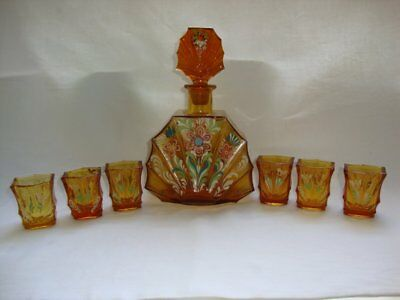 ANTIQUE VINTAGE ART DECO YELLOW GLASS BOTTLE & 6 GLASSES HAND PAINTED 1920s!!!
