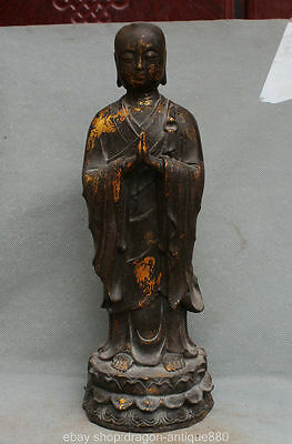 "15 ""old Tibet Bronze Temple Ksitigarbha Boddhisattva Netherworld Leader Statue"