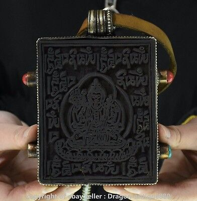 "5"" Old Tibet Buddhism Wood Silver Shrines White Tara Goddess Lection Box Thangka"