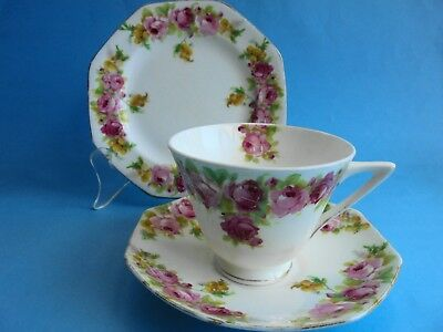 Royal Doulton Rose And Wattle Raby Rose Trio Tea Cup Saucer And Plate