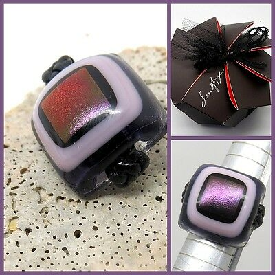 Stunning Fused Glass Ring with Red, Purple Shimmer Tones, Jan Art Jewelry Sz 5.5