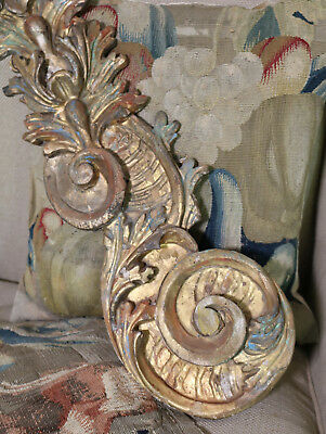Antique Florentine Carved Wood Element Architectural Salvage Gilded Polychrome
