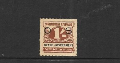 STAMPS NEW SOUTH WALES RAILWAY STAMP 1/- OPTD O S MUH some toning