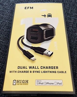 Dual Wall Charger with Charge and Sync Lighting Cable