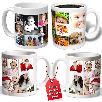 COLLAGE PERSONALISED PHOTO MUG cup ADD NAME love christmas gift birthday tea