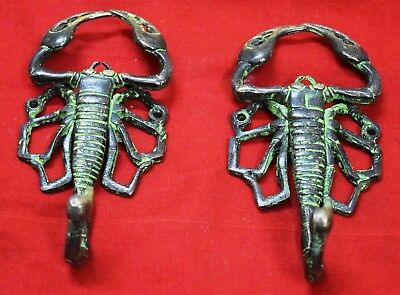 Brass Cloth Towel Hanger Hook Pair African Scorpion Shape Vintage Style BM725