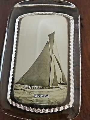 Vintage glass paperweight Columbia 1899 Yacht Winner America's Cup 1899, 1901
