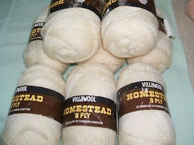 8 X 50 Gm Balls Of Villawool ''homestead'' 8 Ply Off White Old Stock But New