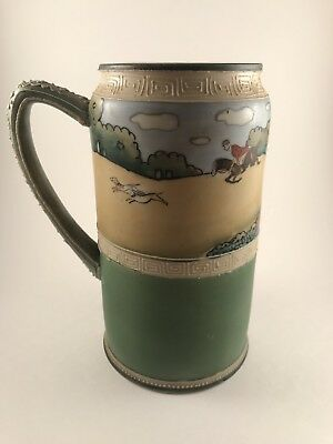 "Nippon Stein Mug Hand Painted 7"", Fox Hunt, Excellent Condition"