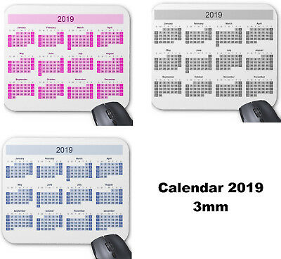 Mouse mat, Mouse pad 3mm Rubber Calendar 2019, gift