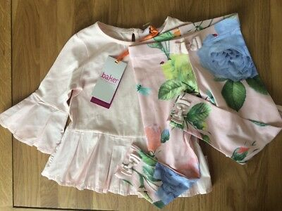 New Ted Baker Girls 2 Piece Outfit Set Top And Legging 2-3 Years