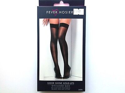 BRAND NEW Womens Fever Hosiery Sheer Black Stockings Hold-Ups Tights One Size