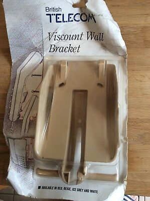 Vintage British Telecom Viscount telephone wall Mountable bracket Beige