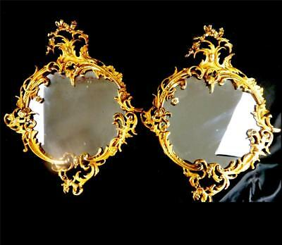 Pair Antique English 19Th Century Brass Rococo Style Mirrors