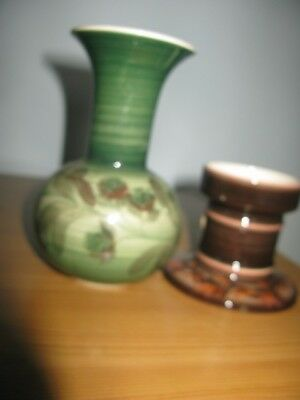 Jersey Pottery Candle Holder and small vase. Unboxed but GC