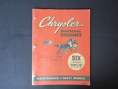 1948 CHRYSLER Industrial Engines Six Cylinder Models Maintenance & Parts Manual