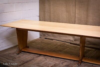 Mid 20th Century Moderne Light Beech Wood Huge Dining / Refectory Table