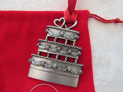 Things Remembered Genuine Pewter Wedding Cake Christmas  Ornament..new