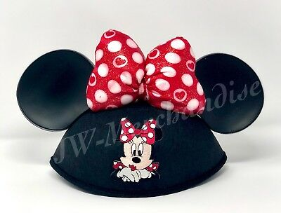 Disney Parks Minnie Mouse Embroidered with Polka Dots Bow Ear Hat Adult Size NEW