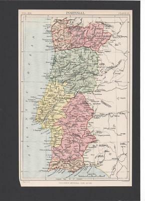 Portugal Map From 1889 9Th Edition Of Britannica Encyclopedia