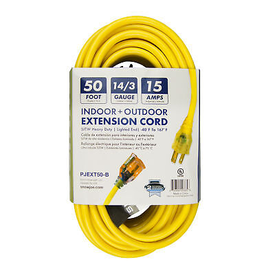 Snow Joe Low Temp Extension Cord 15 AMP | 50-Foot | 14 Gauge | Lighted End