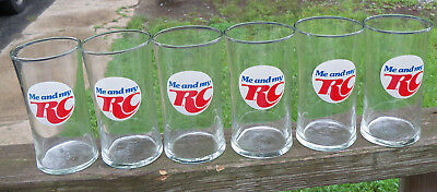 """Lot of 6 Me & My RC - Royal Crown Cola Advertising Glasses Glass 5 """" Tall GUC"""