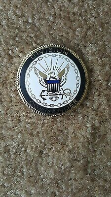 "US Navy Division Commander Heavy Thick Badge Pin 2 1/8"" Size"
